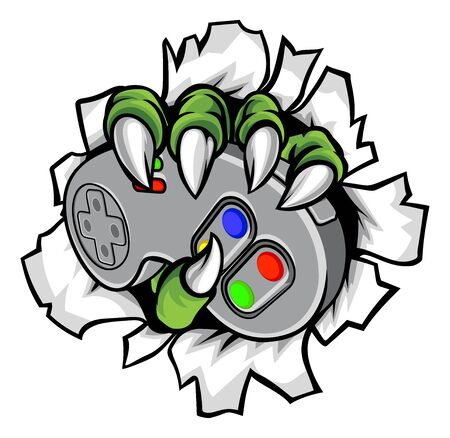 Illustration for Monster Gamer Claws Holding Games Controller - Royalty Free Image