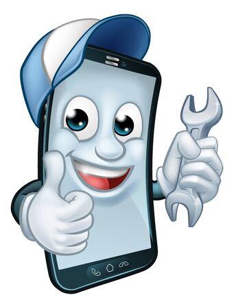 Illustration pour Mobile Phone Repair Spanner Thumbs Up Mascot - image libre de droit