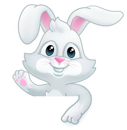 Illustration pour Easter Bunny Rabbit Cartoon Sign - image libre de droit