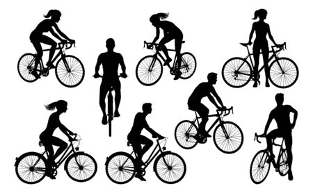 Illustration pour Bicycle Riding Bike Cyclists Silhouettes Set - image libre de droit