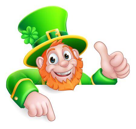 Illustration pour Leprechaun St Patricks Day Cartoon Pointing Sign - image libre de droit