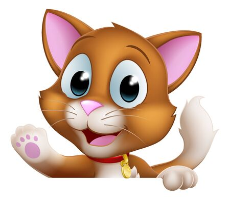 Illustration for Cat Cartoon Pet Kitten Cute Animal Character Sign - Royalty Free Image