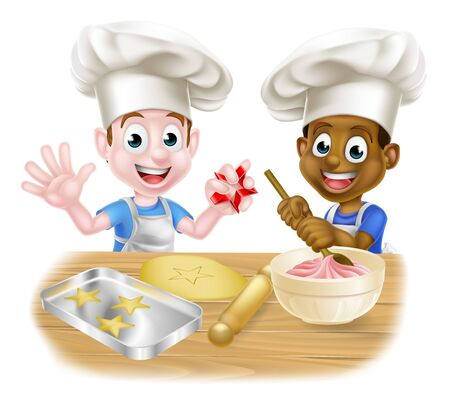 Illustration for Cartoon Boys Baking Cakes - Royalty Free Image