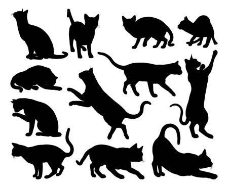 Photo pour A cat silhouettes pet animals graphics set  - image libre de droit
