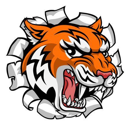 Illustration pour Tiger Animal Cartoon Mascot - image libre de droit