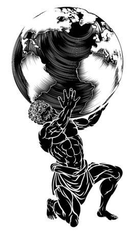 Illustration pour Atlas Titan Holding Globe - image libre de droit