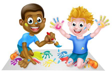 Illustration for Cartoon Boys Painting - Royalty Free Image
