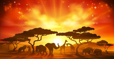 Illustration pour African Safari Animal Silhouettes Landscape Scene - image libre de droit
