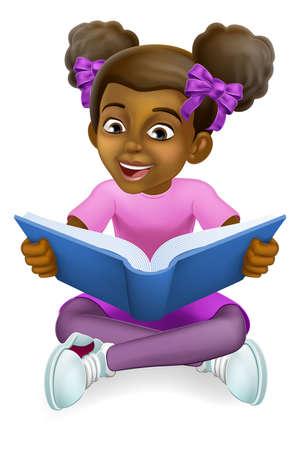 Illustration for Black Girl Child Cartoon Kid Reading Book - Royalty Free Image