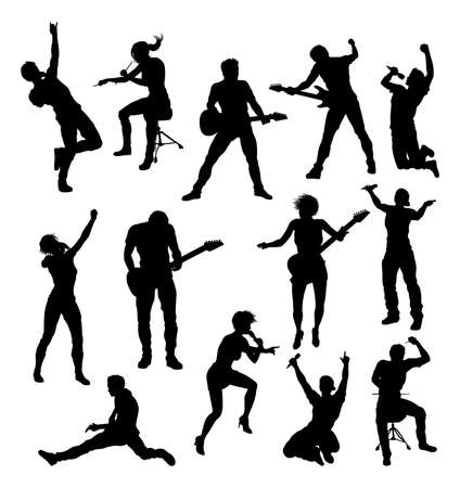 Illustration for Musicians Rock Pop Band Silhouettes - Royalty Free Image