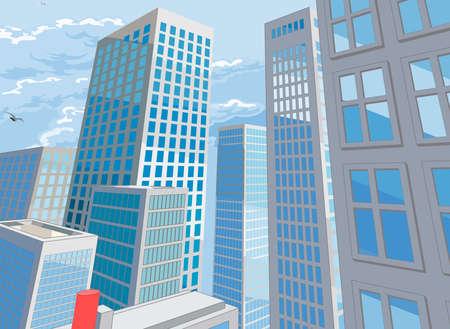 Ilustración de City Buildings Cartoon Comic Book Style Background - Imagen libre de derechos