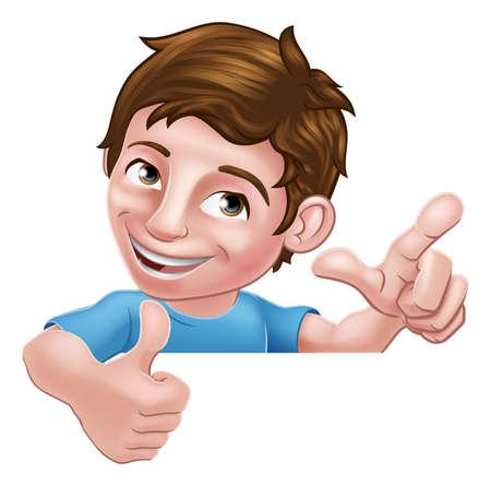 Ilustración de Boy Kid Thumbs Up Cartoon Child Peeking Over Sign - Imagen libre de derechos