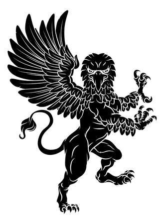 Illustration for Gryphon Rampant Griffin Coat Of Arms Crest Mascot - Royalty Free Image