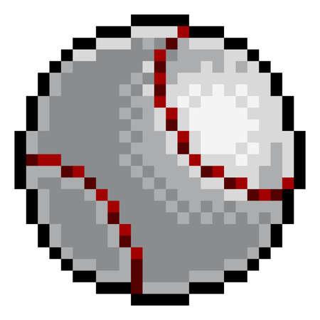 Ilustración de Baseball Ball Pixel Art Eight Bit Sports Game Icon - Imagen libre de derechos
