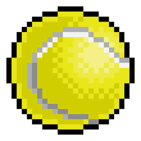 Ilustración de Tennis Ball Pixel Art Eight Bit Sports Game Icon - Imagen libre de derechos