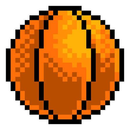 Ilustración de Basketball Ball Pixel Art Sports Game Icon - Imagen libre de derechos