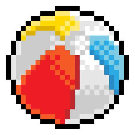 Ilustración de Beach Ball Pixel Art Eight Bit Game Icon - Imagen libre de derechos