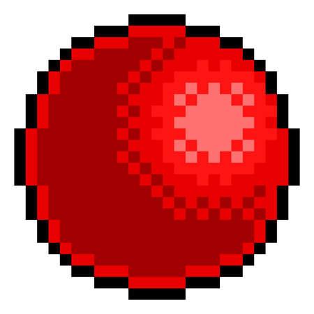 Ilustración de Red Rubber Ball Pixel Art Eight Bit Game Icon - Imagen libre de derechos