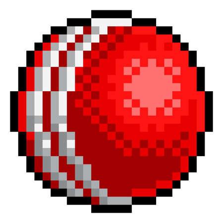Ilustración de Cricket Ball Pixel Art Eight Bit Sports Game Icon - Imagen libre de derechos