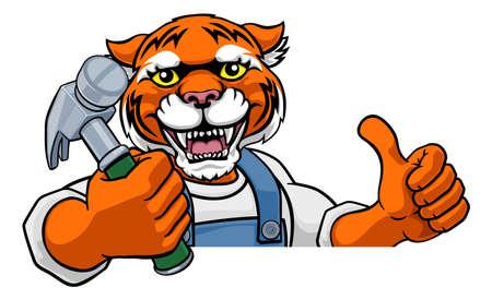 Photo pour Tiger Carpenter Handyman Builder Holding Hammer - image libre de droit