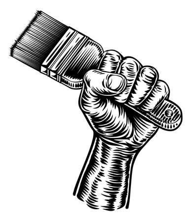 Illustration for Hand Holding Decorators Paintbrush - Royalty Free Image