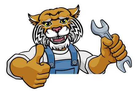 Illustration pour Wildcat Plumber Or Mechanic Holding Spanner - image libre de droit