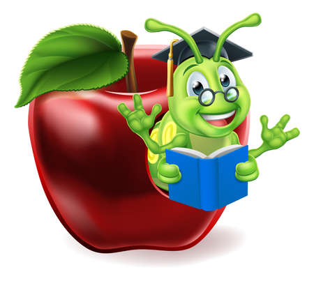 Illustration for Book Worm Apple Cartoon - Royalty Free Image