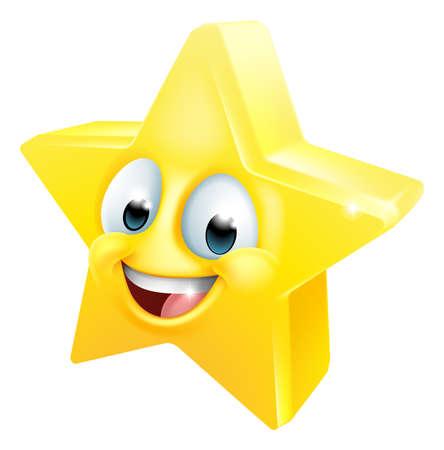 Illustration pour Star Happy Emoticon Cartoon Face - image libre de droit