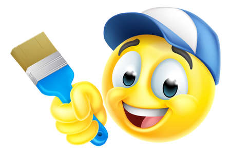Illustration for Painter Decorator Handyman Emoticon Emoji Icon - Royalty Free Image