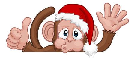 Illustration pour Christmas Monkey Cartoon Character in Santa Hat - image libre de droit