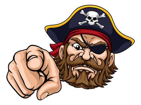 Illustration pour Pirate Captain Cartoon Character Mascot Pointing - image libre de droit