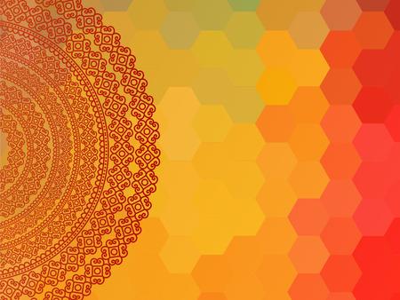 Indian Henna Mandala Background Design EPS10, very elaborate and easily editable