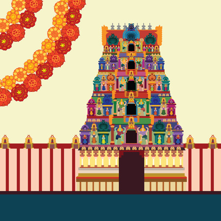 Hindu Temple on Pattern Background: Royalty-free vector graphics