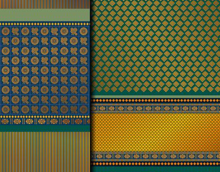 Illustration pour Indian Pattu Sari Vector pattern set. Traditional handmade Indian silk sari /saree with golden details, woman wear on festival, ceremony, and weddings. - image libre de droit