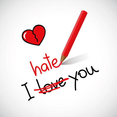 Illustration pour I hate love you typography red broken heart vector illustration EPS10 - image libre de droit