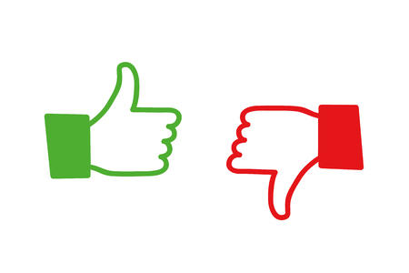 Ilustración de Like and dislike two hands icon vector illustration EPS10 - Imagen libre de derechos