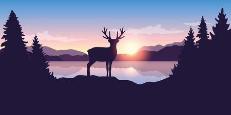 Illustration pour reindeer by the lake at sunrise wildlife nature landscape vector illustration EPS10 - image libre de droit