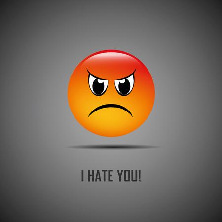 Illustration pour I hate you bad emoji vector illustration EPS10 - image libre de droit