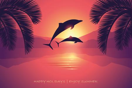 Illustration pour summer holiday postcard sunset sea dolphins and palm vector illustration EPS10 - image libre de droit