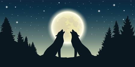 Illustration pour two wolves howl at the full moon in forest landscape vector illustration EPS10 - image libre de droit