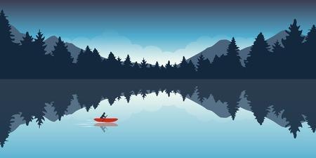 Illustration pour lonely canoeing adventure with red boat forest landscape vector illustration EPS10 - image libre de droit