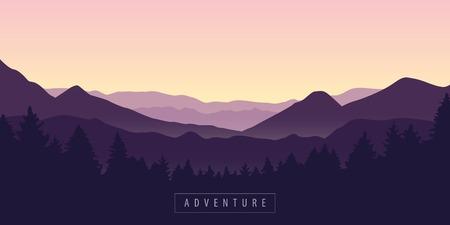 Illustration pour adventure mountain and forest purple landscape vector illustration EPS10 - image libre de droit