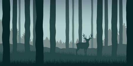 Illustration pour lonely elk in green forest wildlife nature landscape vector illustration EPS10 - image libre de droit