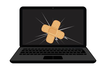 Illustration pour broken laptop display with crack and sticking plaster vector illustration EPS10 - image libre de droit