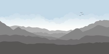 Illustration pour mountain view landscape with cloudy sky vector illustration EPS10 - image libre de droit