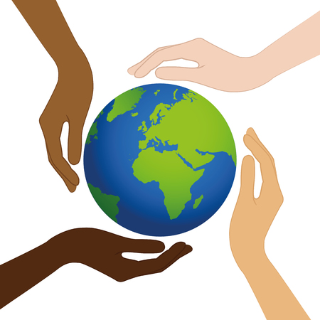 Ilustración de planet earth in the middle of human hands with different skin colors vector illustration EPS10 - Imagen libre de derechos