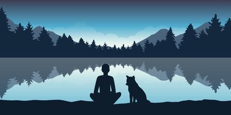 Illustration pour person and his dog enjoy forest nature at lake vector illustration EPS10 - image libre de droit
