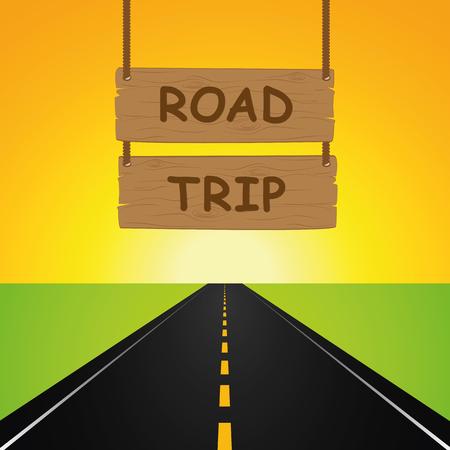 Illustration pour road trip hanging wooden sign and asphalted road vector illustration EPS10 - image libre de droit