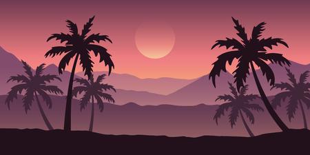 Illustration pour beautiful palm tree silhouette landscape in purple colors vector illustration EPS10 - image libre de droit