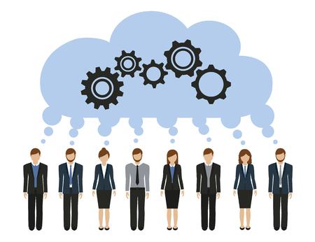 Illustration pour business men and women develop a common idea with gears vector illustration - image libre de droit